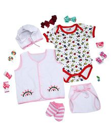 NeedyBee Infant Clothing Set Pack of 9 - White Pink
