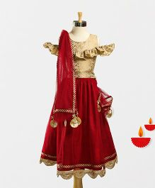 Marshmallow Cold Shoulder Top With Lace Bottom Applique Lehenga & Duppatta - Maroon