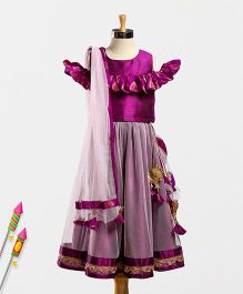Marshmallow Flutter Shoulder Choli With Flare Lehenga & Duppatta - Mauve