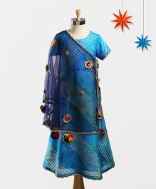 Marshmallow Leheriya Gown With Angarkha Cape & Duppatta - Blue