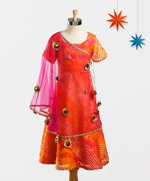 Marshmallow Leheriya Gown With Angarkha Cape & Duppatta - Orange