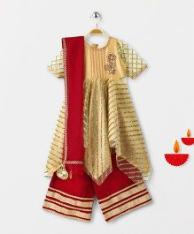Marshmallow Hankerchief Kurta With Palazzo & Duppata - Red & Biege