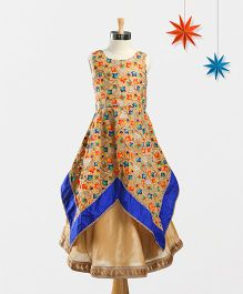 Marshmallow Hankerchief Printed Kurta With Palazzo & Duppata - Multicolour
