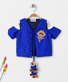 Marshmallow Cold Shoulder Patch Applique Jacket - Blue