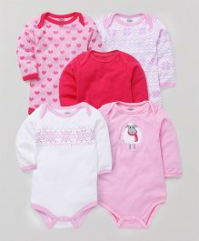 Luvable Friends Sheep Print Set Of 5 Onesie - Pink & White