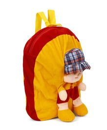 Funzoo Soft Toy Bag Candy Doll Shape Maroon & Yellow Height - 13.3 inches