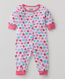 Luvable Friends Heart Print Romper - Pink & Whie
