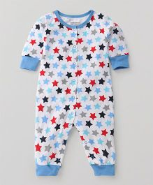 Luvable Friends Heart Print Romper - Blue & Whie