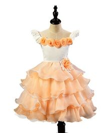 Princess Cart Bow Knot Canonical Party Dress - Peach & White