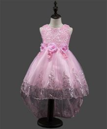 Princess cart Sequin Floral Party Dress - Pink