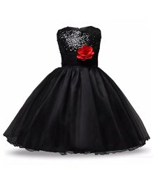 Princess cart Sequin Floral Ball Gown Dress - Black