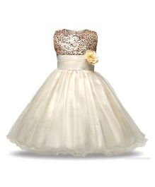 Princess cart Sequin Floral Ball Gown Dress - Cream
