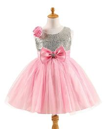 Princess cart Twin Flower Sequin Bow Dress - Pink