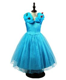 Princess cart Butterfly Lace Evening Gown - Blue