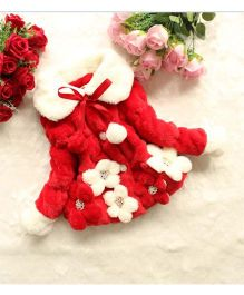 Princess cart Pompom Floral Fleecy Jacket - Red