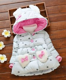 Princess cart Heart Bow Hooded Jacket - Light Blue & Pink