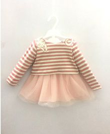 2 Footya Party Wear Full Sleeves Stripe Frock Kitty Embroidery - Peach Yellow