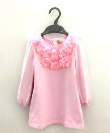 2 Footya Full Sleeves Party Wear Frock Floral Applique - Light Pink