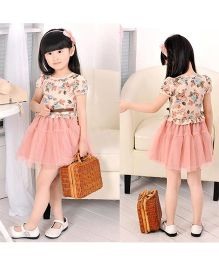 2 Footya Party Wear Short Sleeves Frock With Attached Belt - Pink Cream
