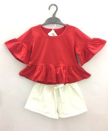 2 Footya Full Sleeves Top And Shorts - Red White