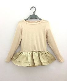 2 Footya Full Sleeves Drop Waist Top - Beige