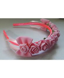 Sugarcart Rose Crown Hairband With Bows - Pink