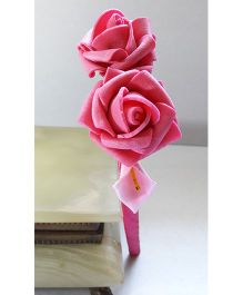Sugarcart Hairband With Rose & Leaf Motif - Pink