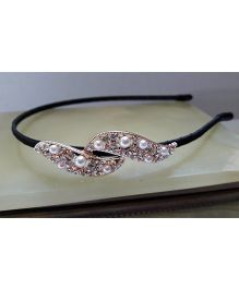 Sugarcart Hairband With Studded Leaves - Golden