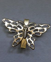Sugarcart Alligator Clip With Butterfly Motif  - Golden