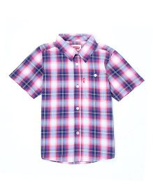 Levi's Half Sleeves Check Shirt - Pink Navy