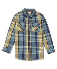 Levi's Full Sleeves Check Shirt - Green Yellow