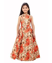 Tiny Baby Floral Printed Full Length Flare Gown - Rust