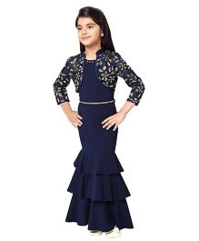 Tiny Baby Fitted Tier Full Length Gown - Navy Blue