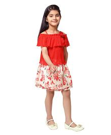 Tiny Baby Off Shoulder Crop Top With Knee Length Skirt - Red