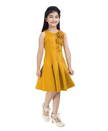 Tiny Baby Sleeveless Dress With Embellished Floral Patch Work - Mustard