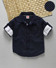 Babyhug Full Sleeves Shirt Polka Dots Print - Navy