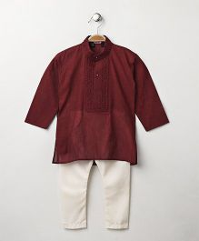 Babyhug Full Sleeves Kurta With Full Length Pyjama - Red