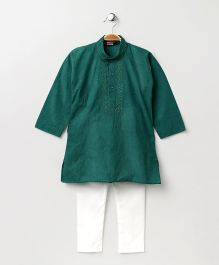 Babyhug Full Sleeves Kurta With Full Length Pyjama - Green