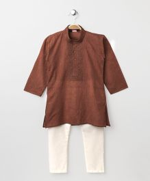 Babyhug Full Sleeves Kurta With Full Length Pyjama - Light Brown