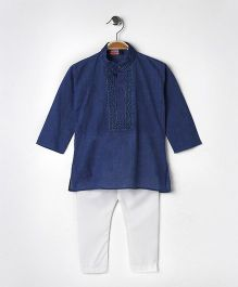 Babyhug Full Sleeves Kurta With Full Length Pyjama - Blue