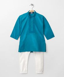Babyhug Full Sleeves Kurta With Full Length Pyjama - Cyan Blue