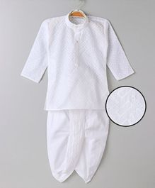 Babyhug Full Sleeve Kurta And Dhoti - White