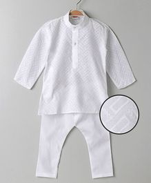 Babyhug Full Sleeves Kurta & Pajama Set - White