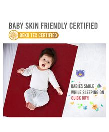 Quick Dry Bed Protector For Babies - Red White