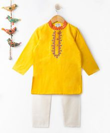Kites Clothing Full Sleeves Kurta & Pajama - Yellow White