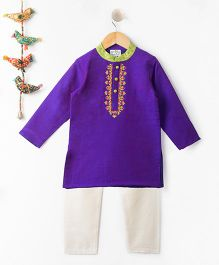 Kites Clothing Full Sleeves Kurta & Pajama - Purple White