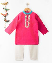 Kites Clothing Full Sleeves Gotapatti Embroidered Kurta & Pajama Set - Pink White