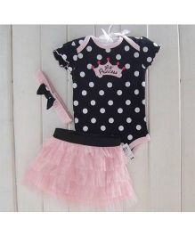 Angel Closet Short Sleeves Onesie With Frilled Skirt Polka Dost Print - Black & Pink