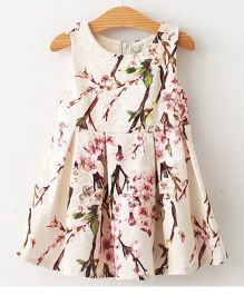 Angel Closet Sleeveless Party Dress Floral Print - Cream