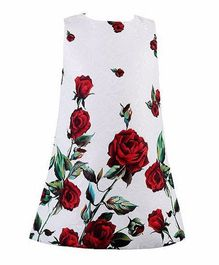 Angel Closet Sleeveless Party Wear Frock Floral Print - White & Red